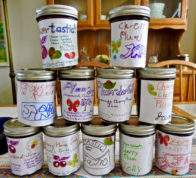 kitchen labeled cherry plum jars in stack - 1
